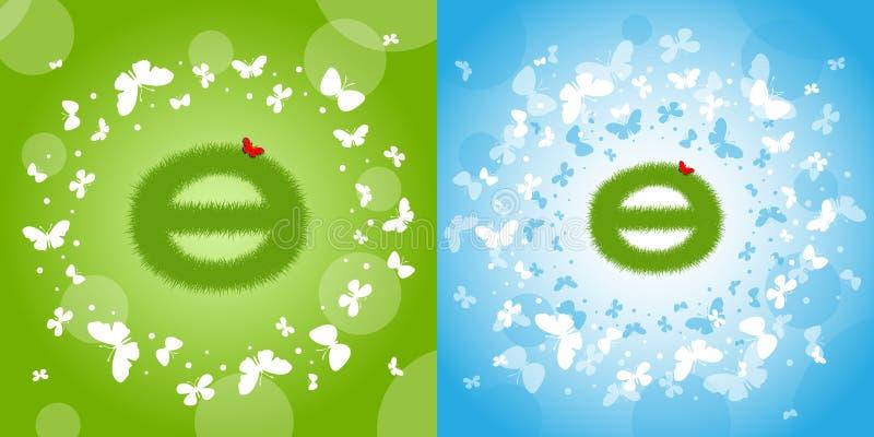 Знак дня земли Знак планеты annuitant Зеленое и красивое backgro иллюстрация вектора