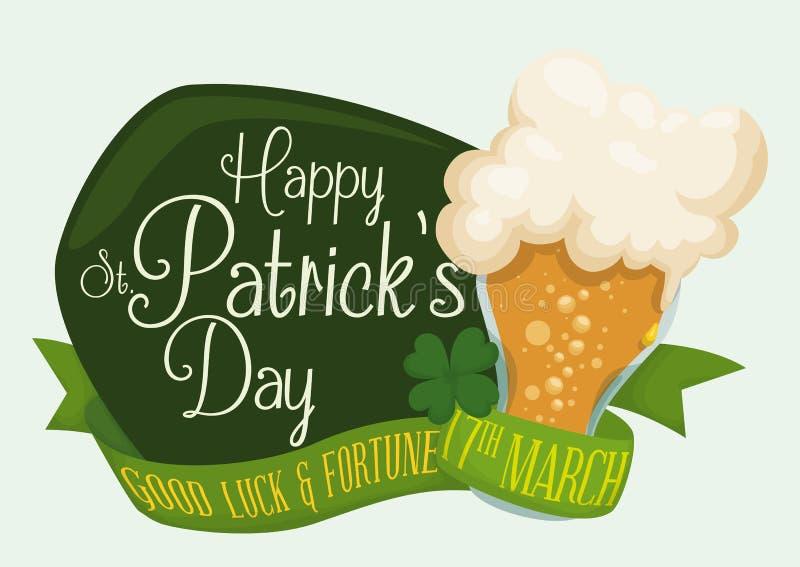 Знак дня счастливого St. Patrick с холодным пивом, иллюстрацией вектора иллюстрация штока
