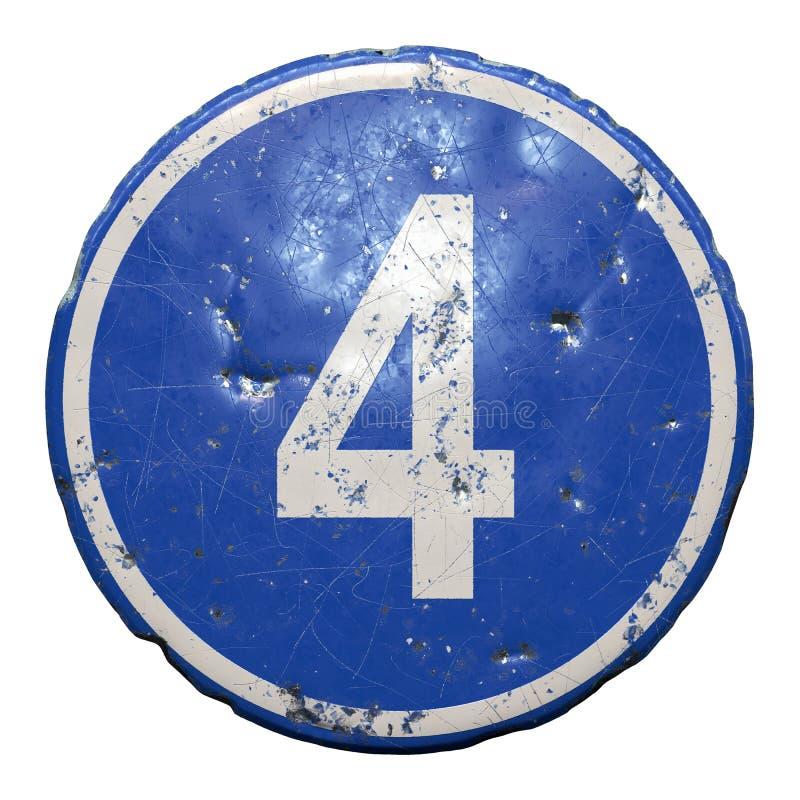 Знак общественной дороги в синем цвете с запятой белой буквы 4 в центре изолированного белого фона 3d стоковое изображение rf