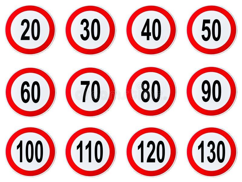 Знак ограничения в скорости - комплект ограничения в скорости круга подписывает с красной границей круглой иллюстрация вектора