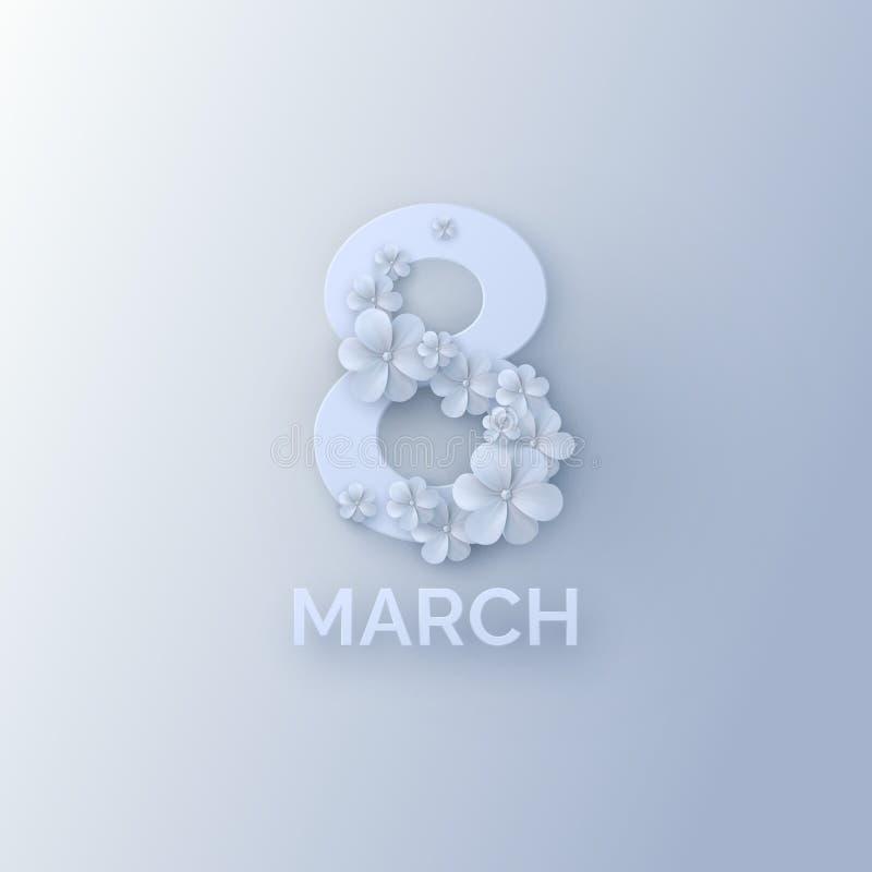 Знак 8-ое марта с бумажными цветками 3d иллюстрация вектора
