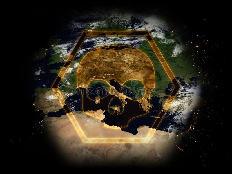Знак опасности: Земля в опасности иллюстрация вектора