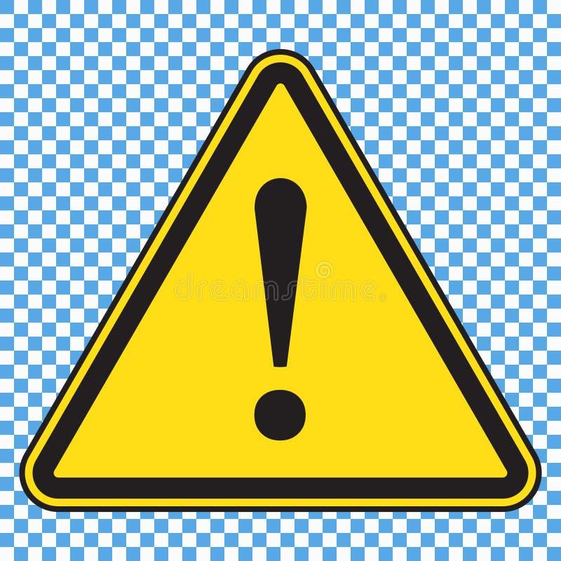 Знак опасности, значок опасности, желтый знак треугольника с восклицательным знаком иллюстрация штока