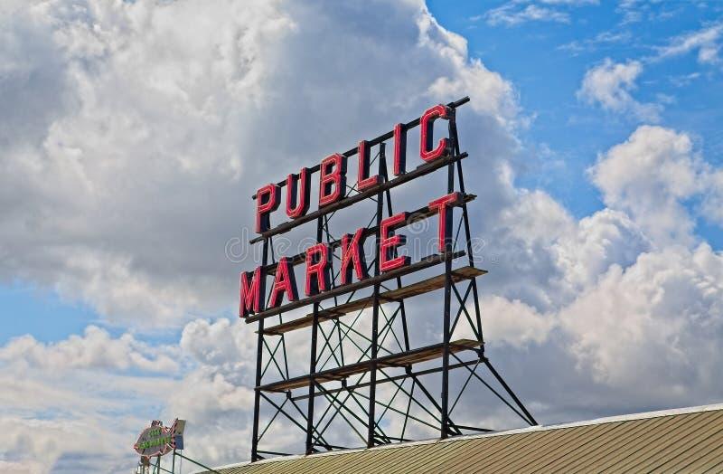 Знак открытого рынка на месте Pike стоковая фотография rf