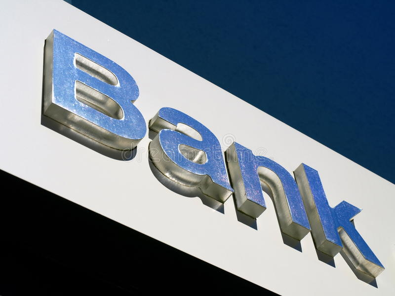 знак офиса банка стоковое фото rf