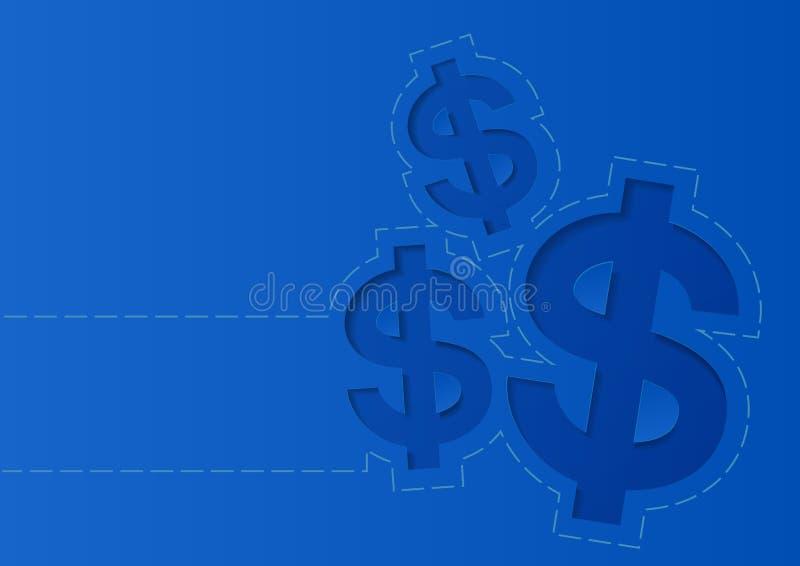 Знак доллара денег на голубой предпосылке иллюстрация вектора