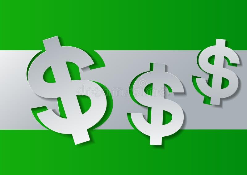 Знак доллара отрезанный от белой бумаги на зеленой предпосылке иллюстрация штока