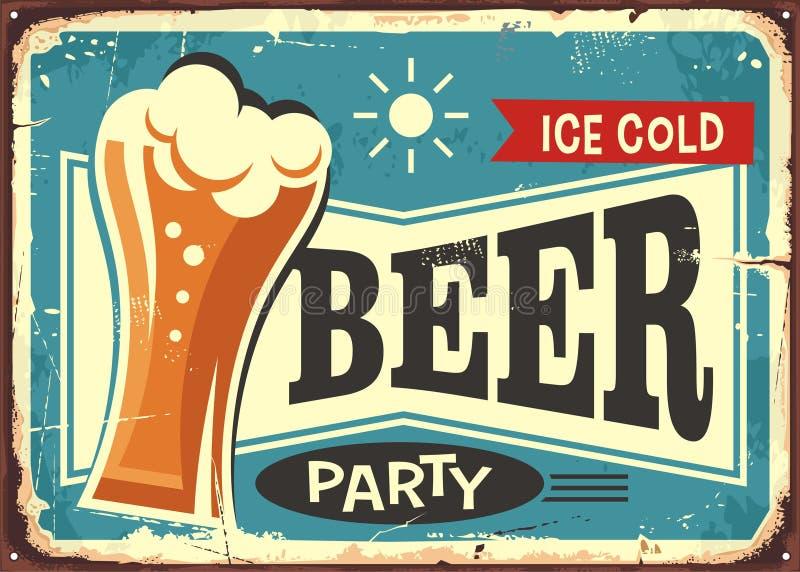 Знак паба партии пива ретро иллюстрация вектора