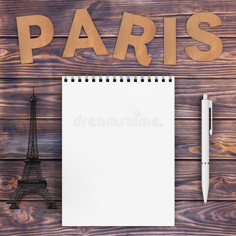 Знак Парижа картона с Эйфелева башней, ручкой и пустой тетрадью w иллюстрация штока