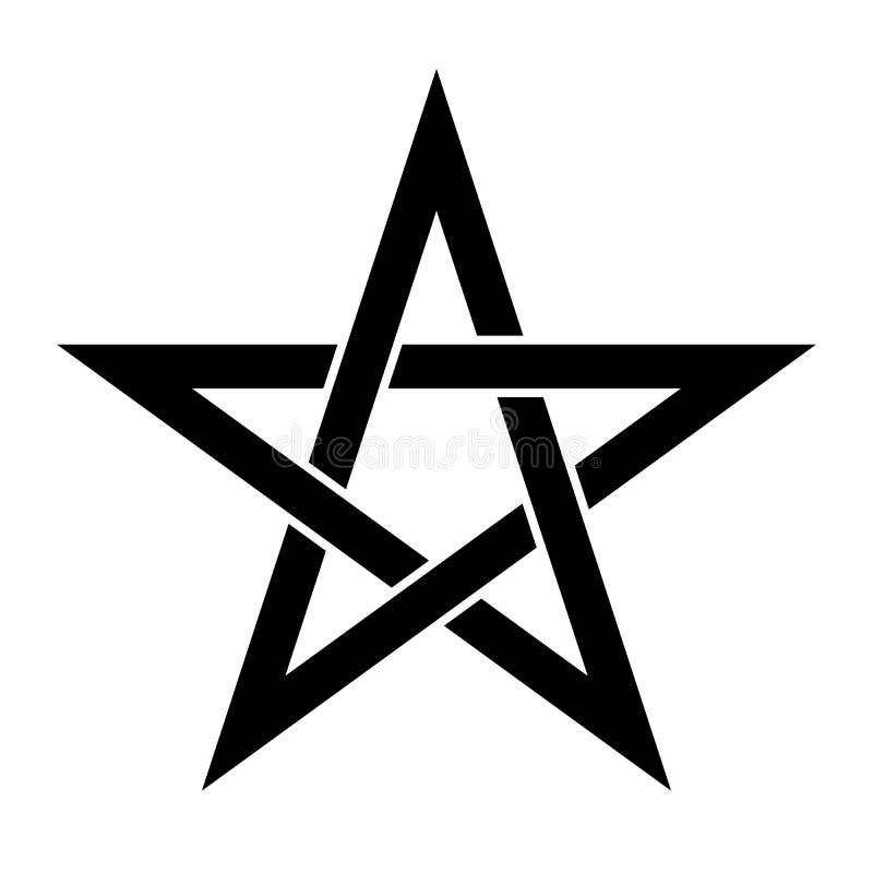 Знак пентаграммы - пятиконечная звезда Волшебный символ веры Простая иллюстрация матовой черноты иллюстрация штока