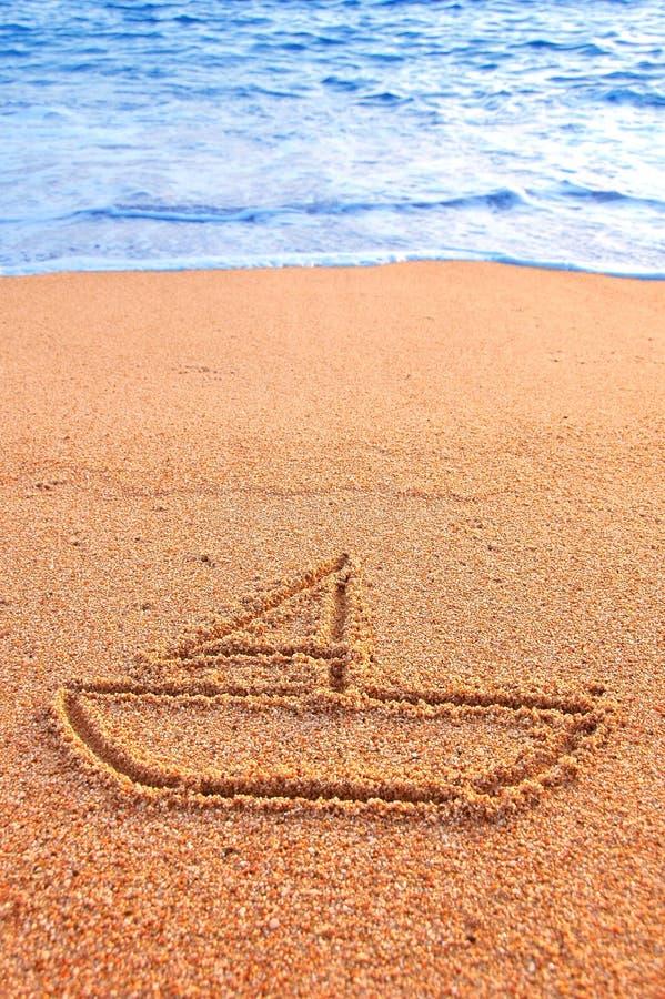 знак песка sailing стоковая фотография rf