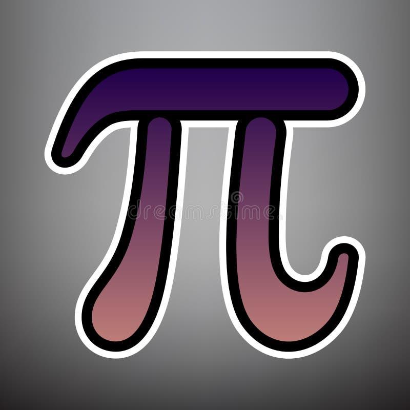 Знак письма Pi греческий вектор Фиолетовый значок градиента с чернотой иллюстрация вектора