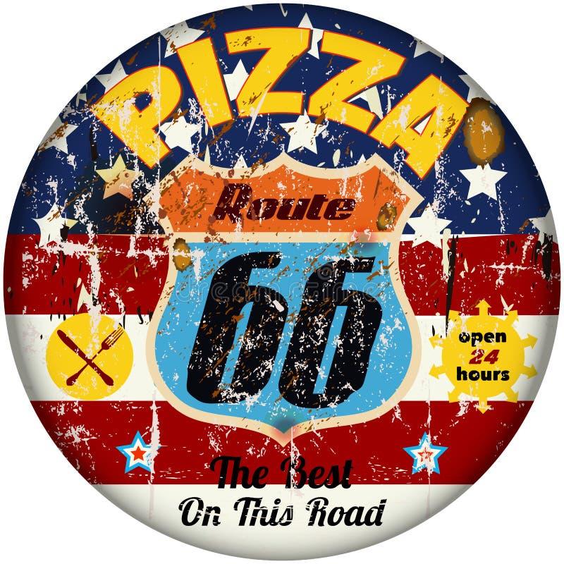 Знак пиццы трассы 66 иллюстрация штока