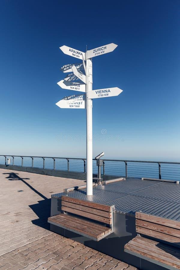 Знак показывая направления и расстояния к различным городам мира Направление городов на предпосылке голубого s стоковое изображение