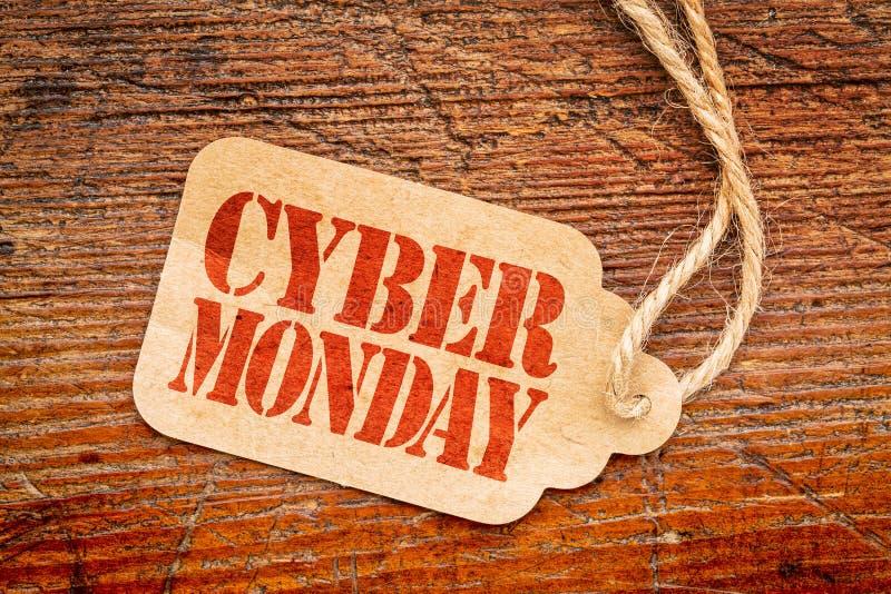 Знак понедельника кибер на ценнике стоковая фотография