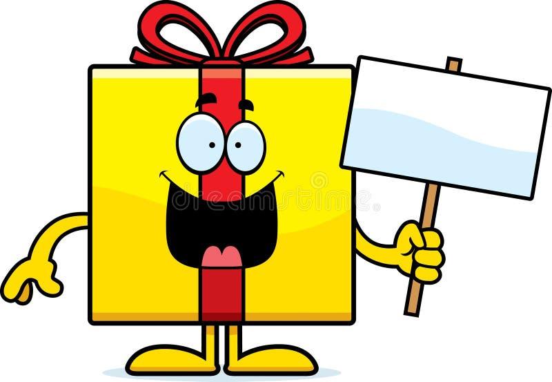Знак подарка на день рождения шаржа иллюстрация вектора