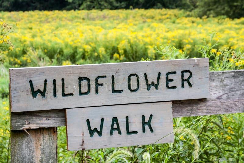 Знак прогулки Wildflower стоковое фото rf