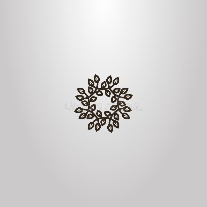 Знак простого вектора круглый венка ветвей с листвой бесплатная иллюстрация