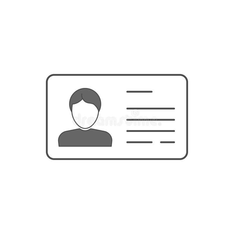 Знак профиля силуэта бизнесмена Водитель ID личный или медицинская карта лицензии Значок вектора мужской плоский Люди возглавляют иллюстрация вектора