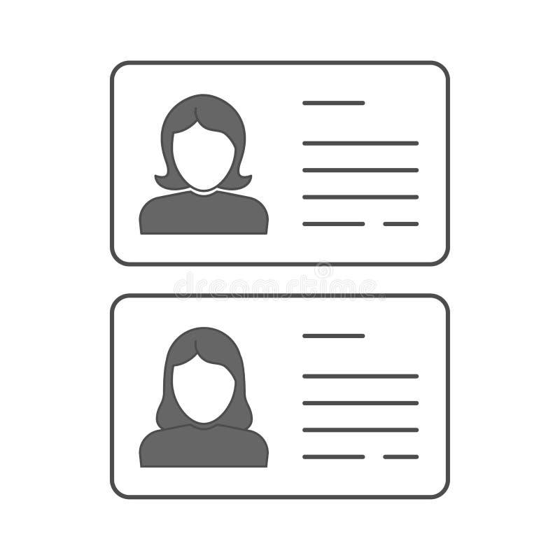 Знак профиля силуэта бизнес-леди Водитель ID личный или медицинская карта лицензии Значок вектора женский плоский Женщины возглав иллюстрация вектора