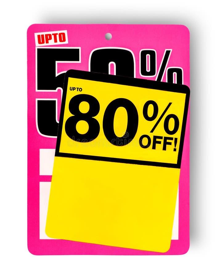 Знак продажи пинка и желтого цвета супер стоковая фотография rf