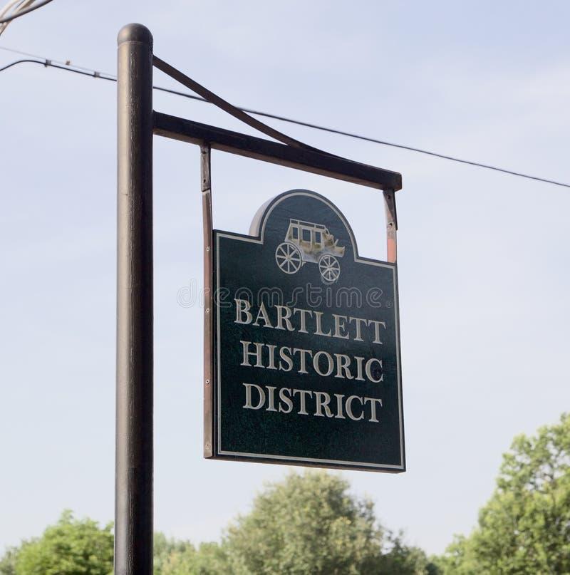 Знак района Bartlett Теннесси исторический стоковая фотография