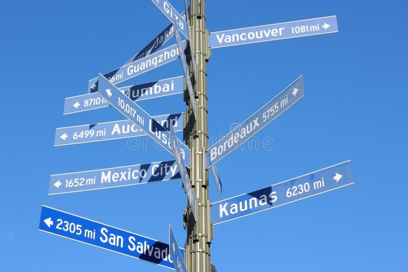 Знак расстояния города стоковое изображение