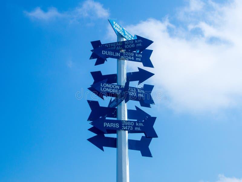Знак расстояния на холме сигнала стоковое изображение rf