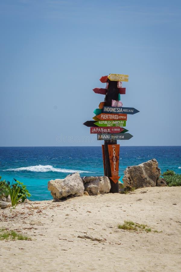 Знак расстояния Cozumel стоковое фото rf
