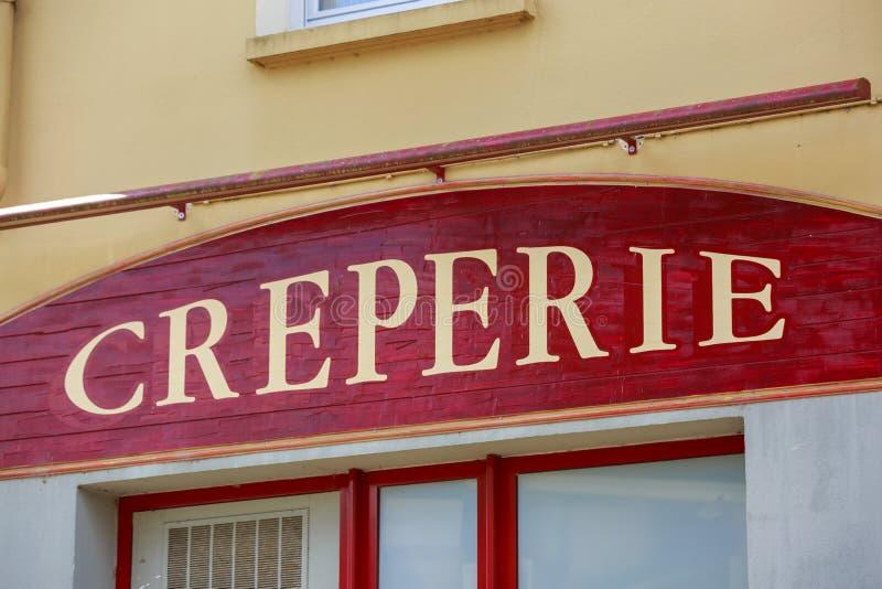 Знак ресторана блинчика (блинная в французском) Бретан, Франция стоковое изображение rf