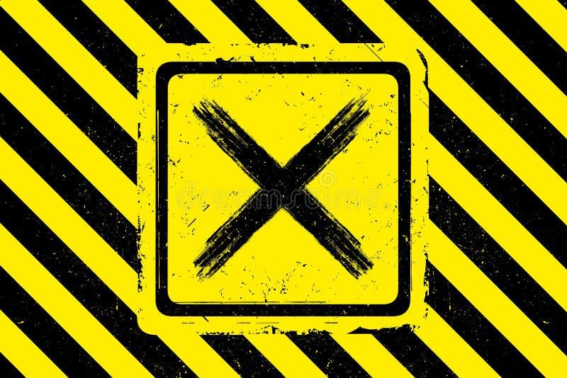 Знак руки вычерченный черный перекрестный на желтом цвете, предпосылке grunge бесплатная иллюстрация