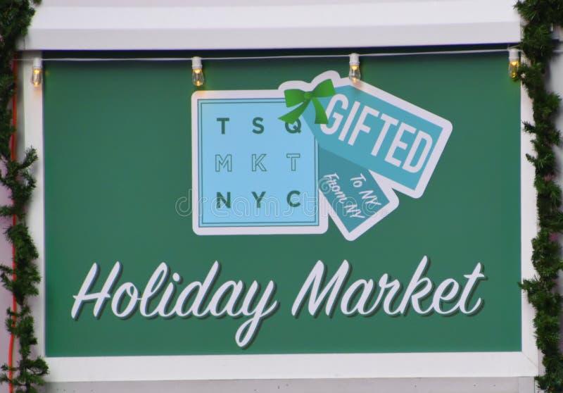 Знак рынка праздника Нью-Йорк Таймс квадратный стоковое фото rf
