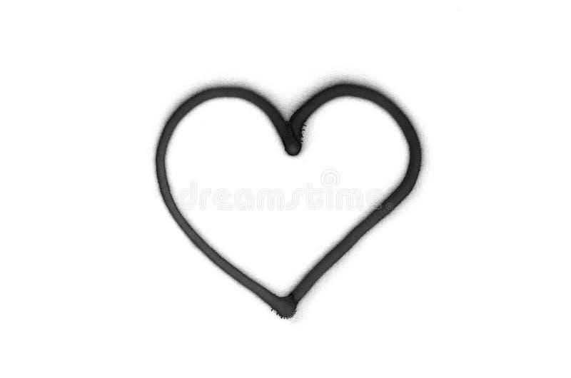 Знак сердца граффити распылил на белой изолированной предпосылке стоковое изображение rf