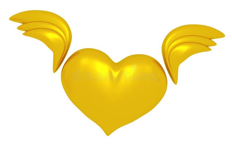 Знак сердца с крыльями иллюстрация вектора