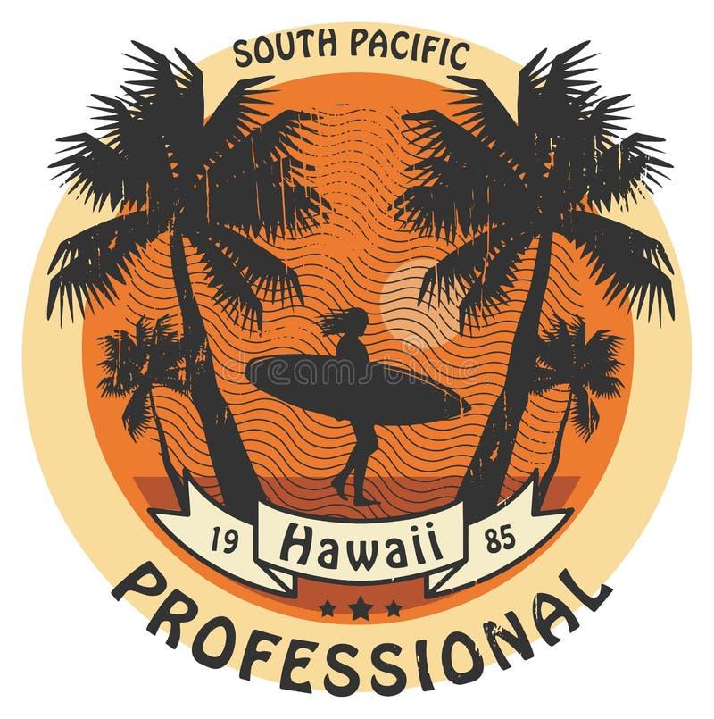 Знак серфера Гаваи иллюстрация штока