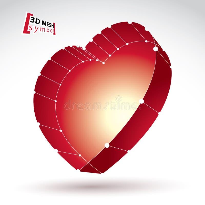 знак сердца влюбленности стильной сети сетки 3d красный на белом backgr иллюстрация вектора