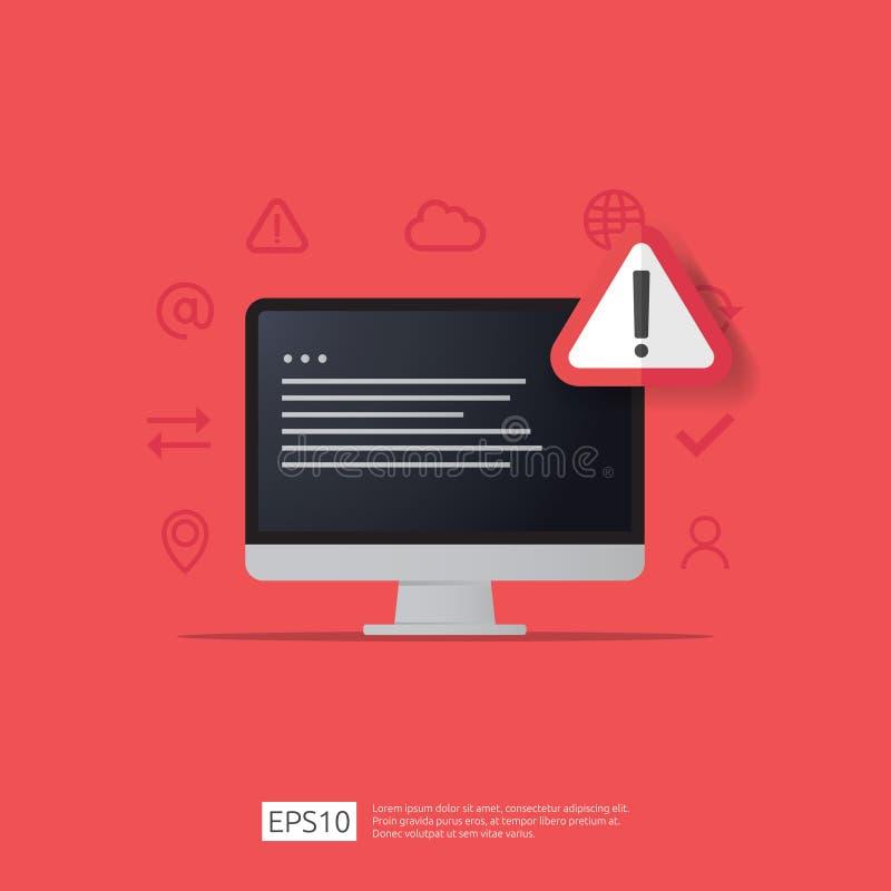 знак сигнала тревоги атакующего внимания предупреждая с восклицательным знаком на экране монитора компьютера остерегите бдительно бесплатная иллюстрация