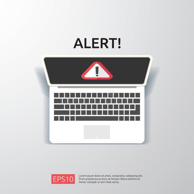 знак сигнала тревоги атакующего внимания предупреждая с восклицательным знаком на экране монитора компьютера остерегите бдительно иллюстрация штока