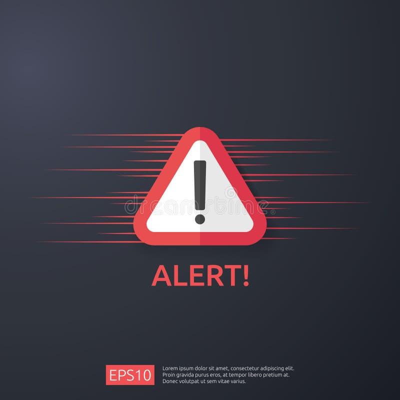 знак сигнала тревоги атакующего внимания предупреждая с восклицательным знаком r линия значок экрана для VPN иллюстрация штока