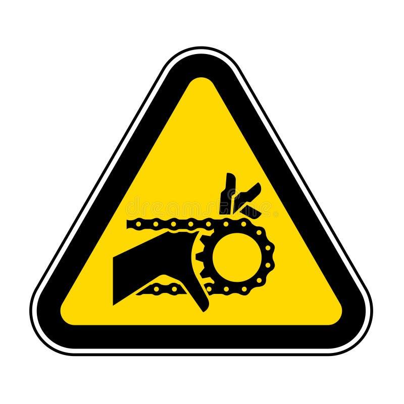 Знак символа привода с цепной передачей спутывания руки, иллюстрация вектора, изолят на белом ярлыке предпосылки EPS10 иллюстрация штока