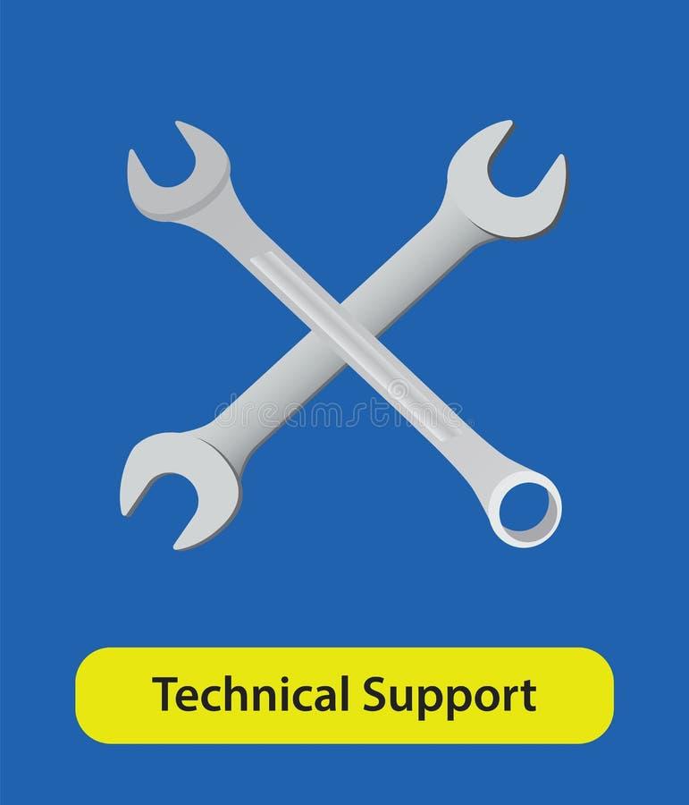 Знак символа вектора службы технической поддержки с ключем и голубой предпосылкой иллюстрация штока