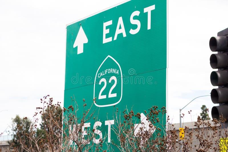Знак скоростного шоссе Калифорния 22 стоковое фото