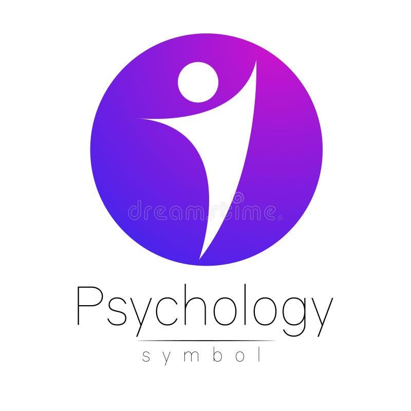 Знак современного человека психологии Человек в круге Творческий тип Значок в векторе Идея проекта Компания бренда лилово иллюстрация вектора