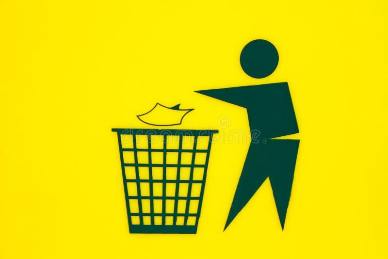 Знак сора на земле задней части желтого цвета иллюстрация вектора