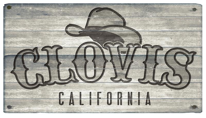 Знак стиля городка Clovis Калифорнии западный иллюстрация вектора