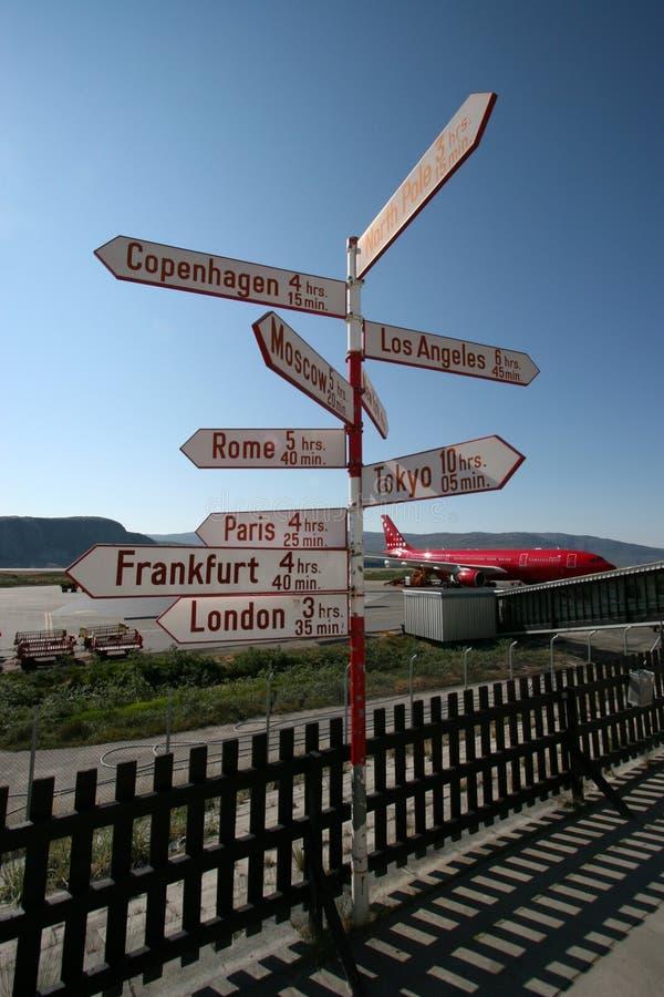 знак столба kangerlussuaq авиапорта стоковая фотография