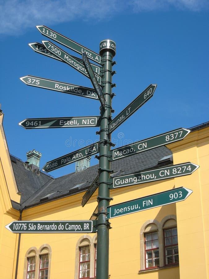 Знак-столб с расстояниями. Linkoping. Швеция стоковое изображение