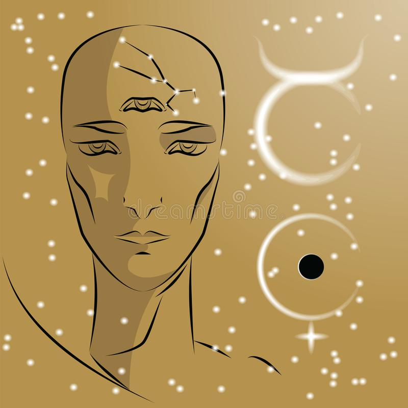 Знак Тавра зодиака иллюстрация штока