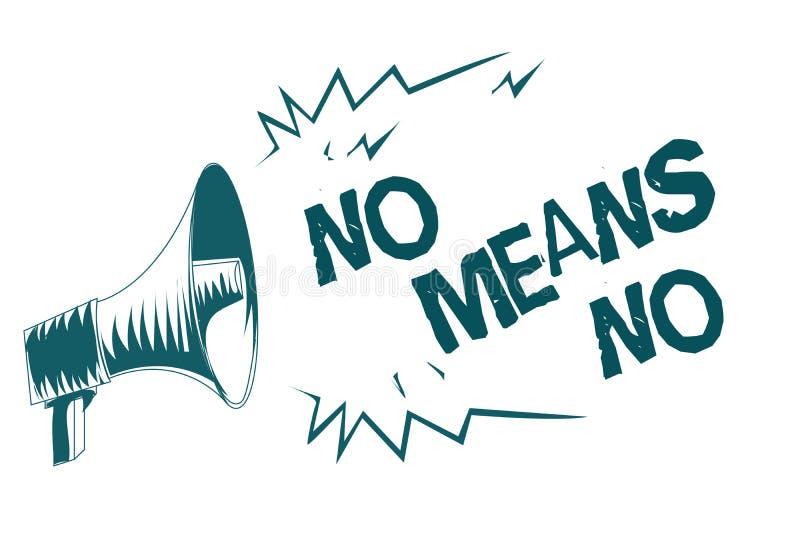 Знак текста не показывающ никакие середины никакие Мегафон схематических сексуальных домогательств негативного отклика насилия ро бесплатная иллюстрация