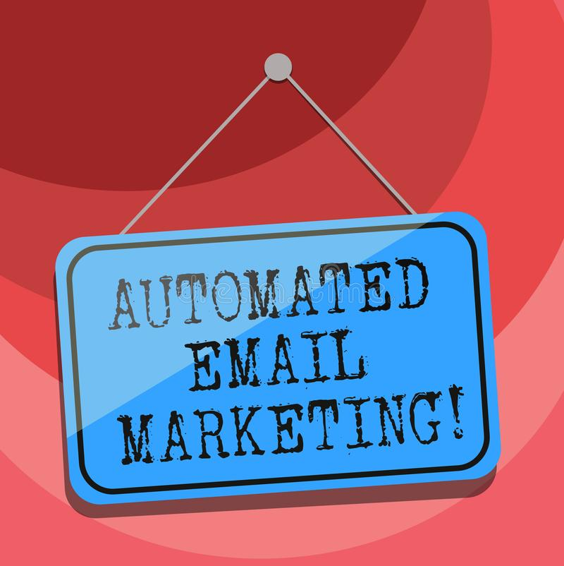Знак текста показывая автоматизированный маркетинг электронной почты Схематическая электронная почта фото отправила автоматически иллюстрация вектора